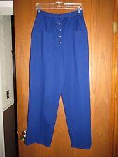 Vintage Sonia Rykiel Royal Blue Wool Knit Button Fly Pleated High Waist Pants 42