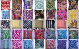 Indien Sol Oreiller Coton Floral Kantha Coussin Housse Broderie Handmade 40x40