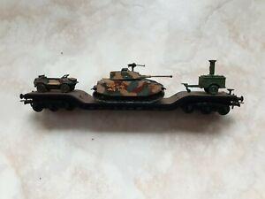 Roco Schwerlast Tiefladewagen mit Roco Minitanks Panzer Gulaschkanone Wehrmacht