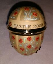 Halcyon Days Egg Shaped Trinket Box Easter 2005 gold w stand Coa enamel