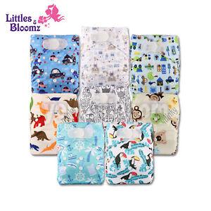 8 Washable Reusable Pocket Hook-Loop Standard Cloth NAPPY Diaper