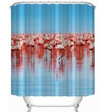 Fun Flamingo Shower Curtain Polyester Fabric Waterproof with Hooks 72x72