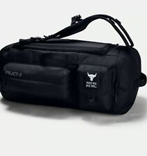NEW* Under Armour UA x Project Rock-3 Black Duffle Backpack Gym Bag 1354942 001