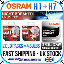 OSRAM H1 + H7 NIGHT BREAKER UNLIMITED DUO PACKS (4 BULBS) HEADLIGHT BULB UPGRADE