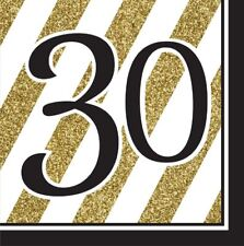 16 x Black & Gold 30 Napkins 33cm Adults 30th Birthday Party Tableware Supplies