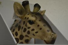 "Giraffe Bust Exotic Trophy Head Wall Hanging Sculpture 17"" Height Wild Life Nib"