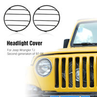 Black Headlight Cover Front Lights Protector Guard For Jeep Wrangler TJ 1997-06