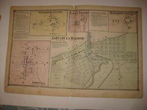 ANTIQUE ASHTABULA HARBOR COLEBROOK HARTSGROVE ORWELL ASHTABULA COUNTY OHIO MAP
