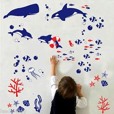 DIY Wall Sticker Fish Princess Decal Kid Nursery Baby Room Decor BATH  BLUE FISH