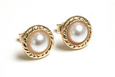 9ct Gold Pearl Button Stud earrings Gift Boxed Made in UK Christmas Gift Xmas
