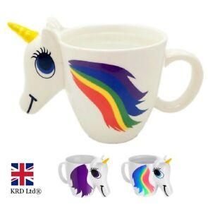 RAINBOW UNICORN COLOUR CHANGING MUG Heat Sensitive Coffee Cup Birthday Gift UK