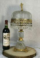 Gorgeous Vintage French crystal glass brass putti cherub table lamp 1960