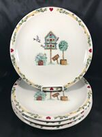 Set of 4 Casuals by China Pearl Birdhouse Dinner Plates
