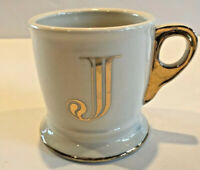 "Anthropologie Initial Alphabet Monogram Coffee Mug / Cup Letter ""J"" Gold Shaving"