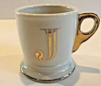 "Anthropologie Initial Alphabet Monogram Coffee Mug / Cup Letter ""J"" Gold Shaving"