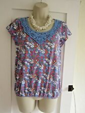 Ladies size 8 Papaya blue multi pretty neckline summer top