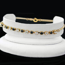 "10"" BLACK & WHITE 3mm  Austrian CRYSTAL Tennis 14k GOLD GL Anklet + LIFE GUAR"