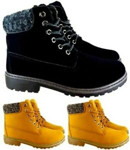 LADIES WOMENS HIKING ANKLE DESERT TRAILCOMBAT WINTER WARM WALKING SHOES BOOTS