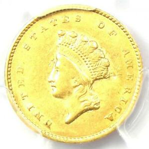 1855 Type 2 Indian Gold Dollar (G$1 Coin) - Certified PCGS AU Details - Rare!