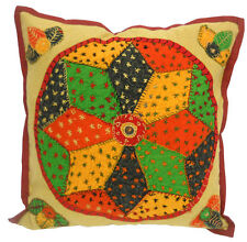 Ethnic Floral Rangoli Geometrical Design Embroidered Patch Work Cushion Cover