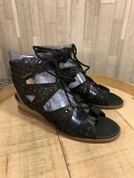 Vince Camuto 6.5M Leather Lace-Up Wedge Sandals Size Rollera Black