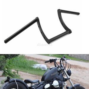 """guidon z bar noir moto handelbars 1""""25mm Pour Harley Honda Suzuki Bobber Chopper"""
