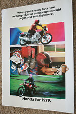 new honda motorcycles 1979 brochure cb750 cbx gold wing xr500 cr125 cr250 atc