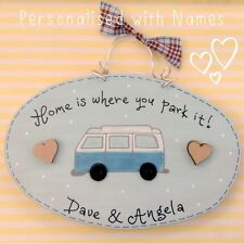 PERSONALISED Hand painted Camper Van Sign Plaque Gift Volkswagen inspired unique