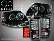 97-02 Ford Expedition Two Halo Projector Headlights LED + LED Tail Lights Black