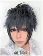 626 Final Fantasy XV Noctis Lucis Caelum Short Blue Gray Black mix Cosplay Wig