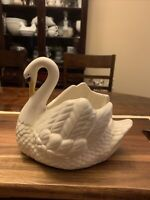 Vintage 70s Swan planter white/ivory Ceramic Holland mold