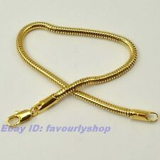 """8.3"""" 3mm 5g THIN SNAKE CHAIN 18K YELLOW GOLD PLATED BRACELET SOLID GP GEP 1011b"""