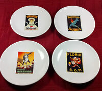 POTTERY BARN Cocktail Plates 8 Inch Set of 4 in Box Vintage Posters Martini 2002