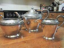 Old Edwardian Antique 3 Piece Silver Plate Tea Pot Jug Sugar Bowl Set 1925