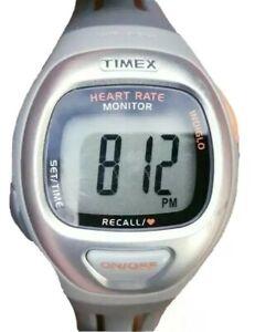 Timex Heart Rate Monitor Watch T5g941 Sport Silver Bezel Gray Band Men Women 30m