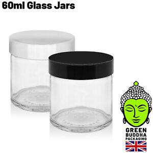60ml Clear Glass Ointment Cosmetic Jars 51mm Black urea lids 3.5g Small Pot Lid