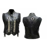 Women's Native American Western Leather Vest with Fringes Beads and Bones