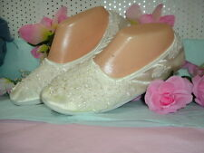 """Wedding Shoes Satin SLIPPERS  """"Beads Pearls"""" Large IVORY"""