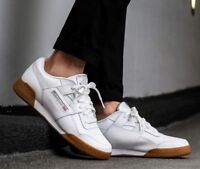 New Reebok Workout Plus Classic Leather Mens athletic sneaker white gum all size