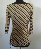 Valleygirl Womens Sz L Beige/Black Striped Fitted Top with Side Tie 3/4 Slv GC