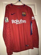 2017-2018 Barcelona Away Nike Goalkeeper Shirt (Red) Small Mans
