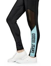 NWT And Sexy Guess Womens Zakura Leggings Black/Turquoise With Net, Sz XS