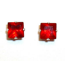 Princess Red CZ Earrings in Silver 6mm