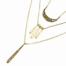 Lucky Brand Gold Tone Multi Layer Shiny Pave Stone Pendant Necklace