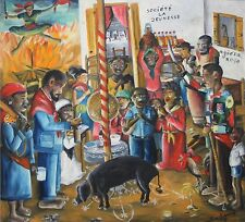 WILSON BIGAUD-Haitian Artist-Large Original Signed Oil-Haitian Voodoo Ritual