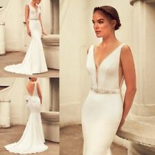 Mermaid Wedding Dresses White/Ivory Beading V Neck Sleeveless Bride Gowns Custom