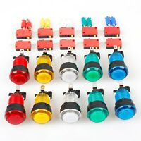 10x New 12V LED lit Arcade Push Buttons Games Parts Multicade Choice of 5 Colour