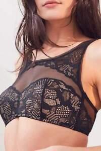 Calvin Klein CK Black Lace High Neck Bralette Romantic & Divine Bra Lingerie