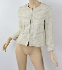 BANANA REPUBLIC Cream/Beige Shimmer Metallic Tweed Collarless Blazer Jacket 2 XS
