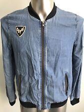 New Zara Mens Bomber Jacket Large lightweight  Blue